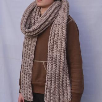 Длинный  вязаный зимний шарф. Коричневый шарф.Женский шарф .В'язаний жіночий шарф. Чоловічий шарф