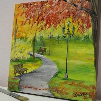 "Картина маслом ""Осенний парк"" холст на подрамнике"