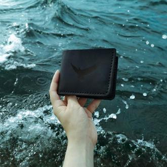 Мужской бумажник для купюр и карт тонкий компактный