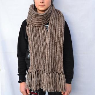 Длинный  вязаный мужской шарф. Коричневый шарф. Жіночий шарф. Чоловічий шарф. В'язаний довгий шарф.
