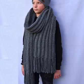 Длинный  вязаный зимний шарф. Мужской шарф. В'язаний чоловічий шарф. Серый шарф. Жіночий шарф