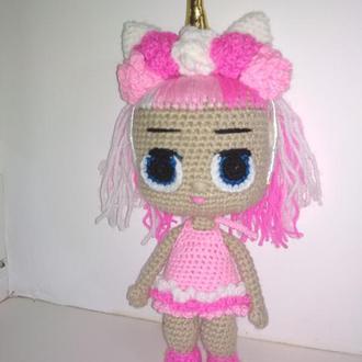 Вязаная розовая кукла ЛОЛ единорог