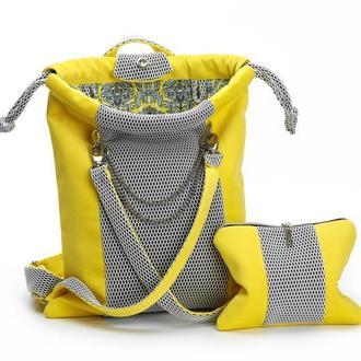 Рюкзак желтый текстильный для спорта