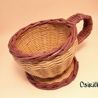 Плетеная чашка-конфетница