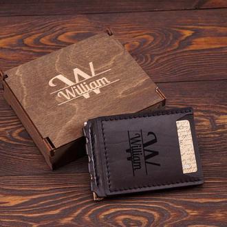 Зажим для денег, Мужской кошелек, Компактный кошелек, Именной кошелек