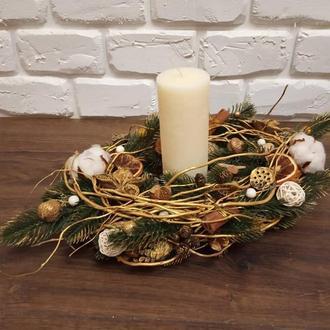 Новогодняя композиция со свечой на стол
