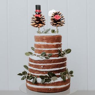 Топпер на свадьбу / Топпер на свадебный торт / Шишки на торт / Украшение свадебного торта / Рустик