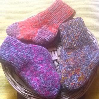 Носки шерстяные вязаные, ручной работы.