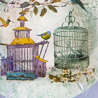 "Тарелка ""Птички и клетки"""