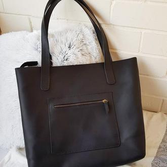 Женская кожаная сумка шоппер Stedley чёрная