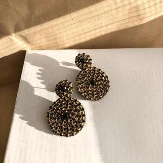 Стразовые серёжки, серьги со стразами, сережки из камней, стразові сережки, серёжки кольца