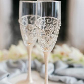 Бокалы на свадьбу Айвори винтаж