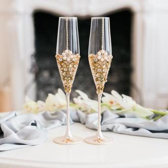 Бокалы на свадьбу Жемчужная роза