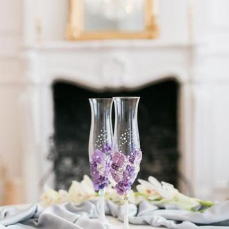 Свадебные бокалы Лиловый цветок 2 шт
