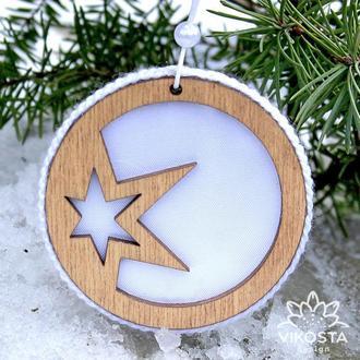 Деревянный шар на елку, новогодняя елочная игрушка, подвеска на елку, новогодний декор