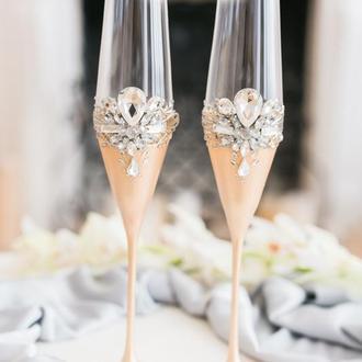 Бокалы свадебные Розовый персик 2 шт