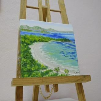 """Картина миниатюра масляная живопись на холсте """"Остров на Пуэрто-Рико"""" Интерьерная картина"""