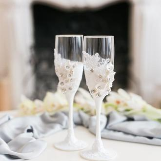 Свадебные бокалы Белые каллы 2 шт