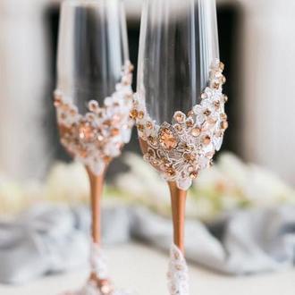 Свадебные бокалы Кружевные цветы 2 шт.