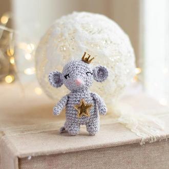 Мышка вязаная крючком, игрушка на елку, новый год, амигуруми