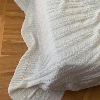 Покрывало вязаное широкая коса 200*220
