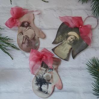 Винтажные новогодние елочные игрушки Рождественский ангел новогодняя игрушка на елку подарок