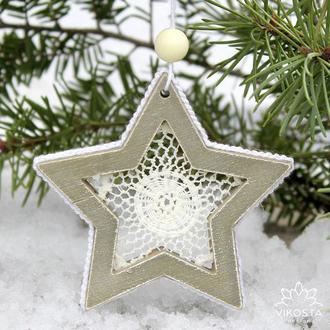 """Игрушка на елку """"Звездочка"""", новогодняя елочная игрушка, подвеска на елку, новогодний декор"""
