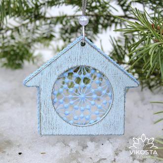 """Игрушка на елку """"Домик"""", новогодняя елочная игрушка, деревянная подвеска на елку, новогодний декор"""