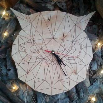 Полигональные часы Сова
