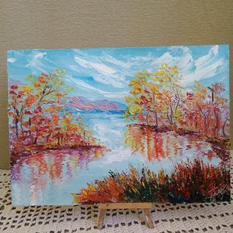 """Картина маслом """"Осень на пруду"""""""