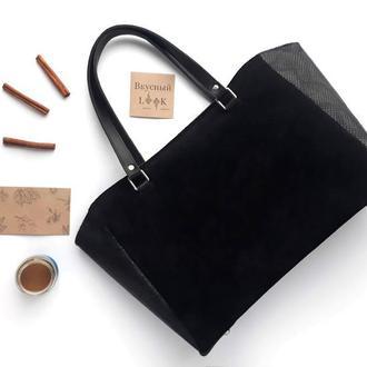 """Офисная кожаная сумка """"Корица"""" (черная)"""