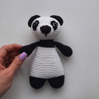 Детская вязаная игрушка Панда.Оригинальный подарок на день рождения.Подарок малышу.