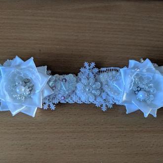 Зимняя повязка-корона № 14