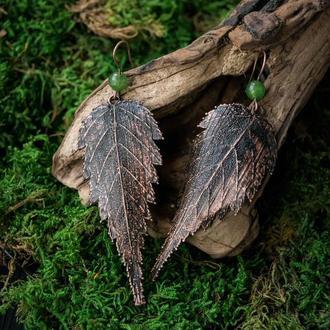 Серьги ′Керия с нефритом′