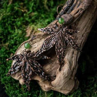 Серьги ′Клен с нефритом′