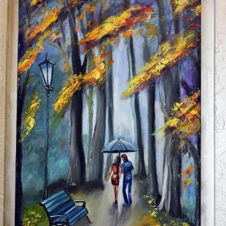 Живопись,осень в парке,размер 40х60см