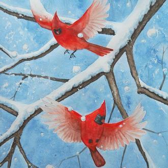 Картина с красными птицами.