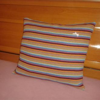 Диванная подушка Ручная работа Натуральные ткани Кашемир Шерсть 45 X 45 Перо Новая