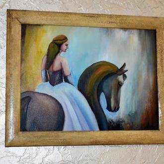 Дама на лошади, живопись 30х40см