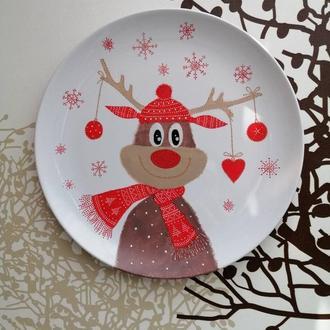 Рождественский олень, декоративная тарелка