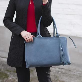 Стильная женская кожаная сумка с двумя ручками