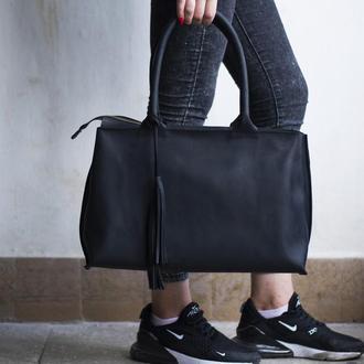 Женская кожаная сумка с двумя ручками