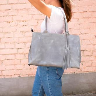 Женская кожаная сумка с двумя ручками серая