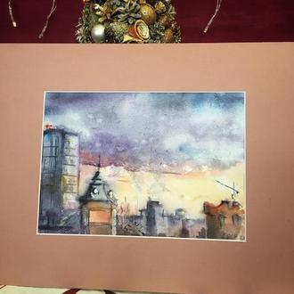 Картина «Город» написана акварелью по-мокрому