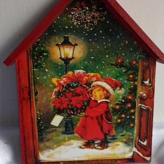 """Ключниця -будиночок """"Напередодні Різдва"""", вішалка в дитячу, вітальню,новорічний подарунок"""