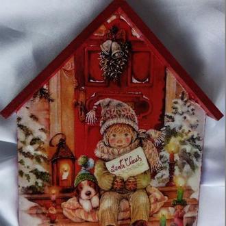 """Ключница -домик """"Письмо Санте"""", вешалка в детскую, прихожую,новогодний подарок"""