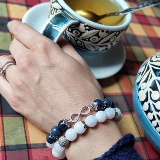 Набор браслетов из натуральных камней, браслет из кварца, нефрита,агата, подарок