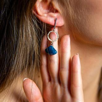 """Серебряные серьги с апатитом """"ArDeco"""", серебряные серьги с камнями, серьги с синим камнем"""