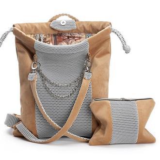 Женский рюкзак темнобежевый, кирпичный цвет