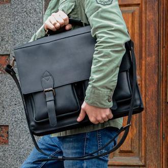 Черный портфель для ноутбука, Кожаная мужская сумка